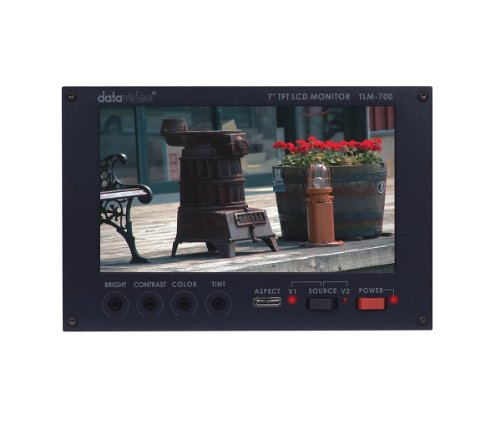 New Datavideo | 7'' TFT LCD monitor with 2 CV inputs, TLM-700 with two selectable video inputs and NTSC/PAL auto-switching and 16:9/4:3 compatible by Datavideo