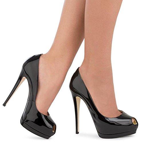 Femme Peeps Talons YC Plateforme black Patent Toe Shoes Poisson De La De Taille éTanche L Grande Hauts Bouche Miroir Leather w1Xg66q