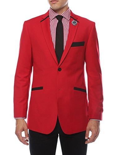 Ferrecci 40L Jersey BOY Red & Black Slim Fit Tuxedo Blazer ()