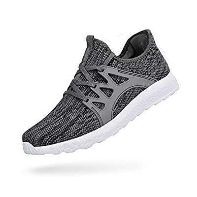 Feetmat Womens Sneakers Ultra Lightweight Breathable Mesh Athletic Walking Running Shoes Grey/White 10