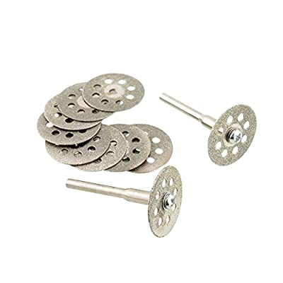 Soledi 10 Pieces Cutting Discs 22mm Sharp Vented Rotary Diamond Mandrel Dremel Tools