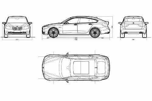 "BMW 5 Series Gran Turismo Concept (2009) Car Art Poster Print on 10 mil Archival Satin Paper White Spec Sheet View 20""x15"""