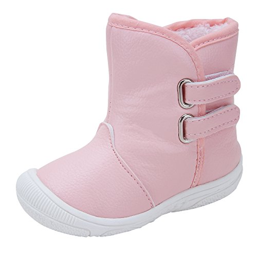 Kuner Baby Girls PU Leather Faux Fleece Rubber Soles Outdoor Warm Snow Boots (15.5cm(24-30months), Pink) (24 Snow)