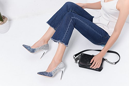 Mila Lady BONNIE09 Women Fashion Embellished Sparkles Contrast Color Pointed Toe Pumps High Heel Stilettos Sexy Slip On Dress Shoes, Blue