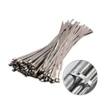 Wocst 100 Pieces Stainless Steel Cable Zip Ties
