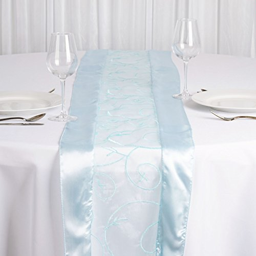 Embroidered Edge - BalsaCircle 14 x 108-Inch Light Blue Satin Edges Embroidered Organza Table Top Runner - Wedding Party Linens Decorations