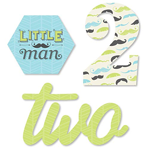 2nd Birthday Dashing Little Man Mustache Party - DIY Shaped Second Birthday Party Cut-Outs - 24 Count]()