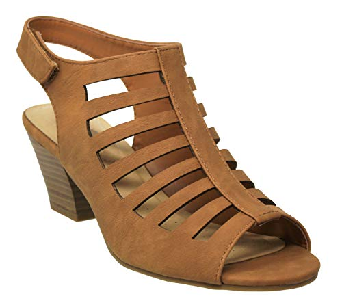 MVE Shoes Women's Casual Adjustable Band Slip On Low Heeled Sandals, Anakin TAN NB 9