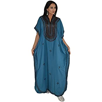 7db994a94b6801 Moroccan Caftan Hand Made Top Quality Breathable Cotton with Brown Hand  Embroidery Long Length Blue