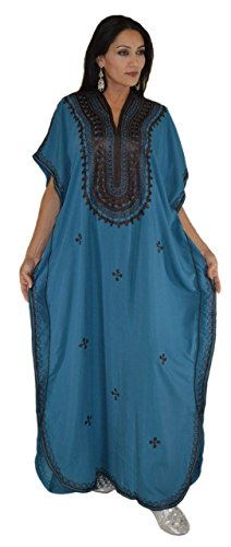 Moroccan Caftan Hand Made Top Quality Breathable Cotton with Brown Hand Embroidery Long Length Blue ()