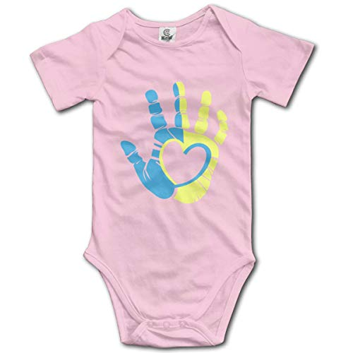 Down Syndrome Awareness Hand Infant Short-Sleeve Bodysuit Baby Boys Girls Pink]()
