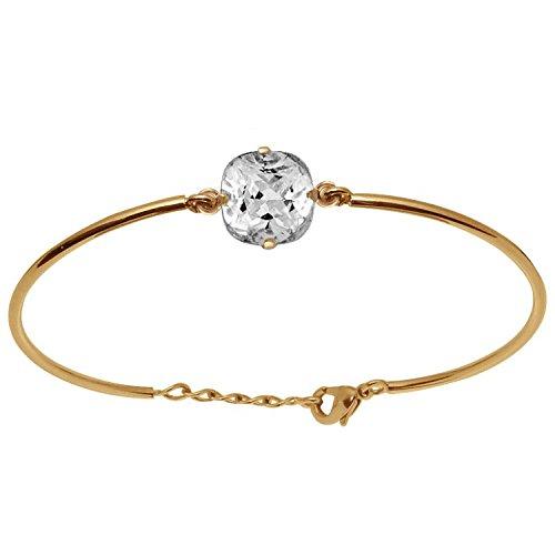 So Chic Bijoux © Bracelet Femme Longueur Réglable: 17 à 19 cm Semi Rigide Solitaire Oxyde de Zirconium Blanc Plaqué Or 750