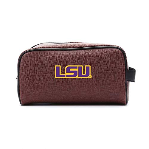 Zumer Sport LSU Tigers Football Leather Travel Toiletry Kit Zippered Pouch Bag - Made from The Same Exact Materials as a Football - Brown