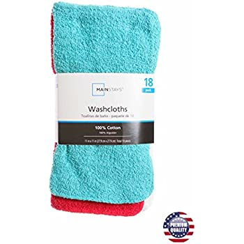 Mainstay MAIN STAYS 18 Pack Assorted Cotton Terry Thin Washcloths Rags (Green, White, Red)