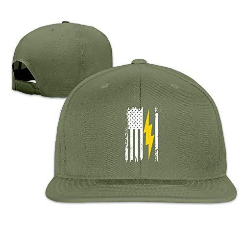 American Flag Lightning Bolt Electrician Baseball Cap Adjustable Trucker Hat ColorKey ()