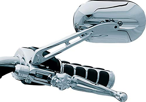 Kuryakyn 1412 Motorcycle Handlebar Accessory: Magnum Plus Large Head Rear View Side Mirror with Flat Glass for 2004-19 Harley-Davidson Motorcycles, Chrome, Pack of 1 ()