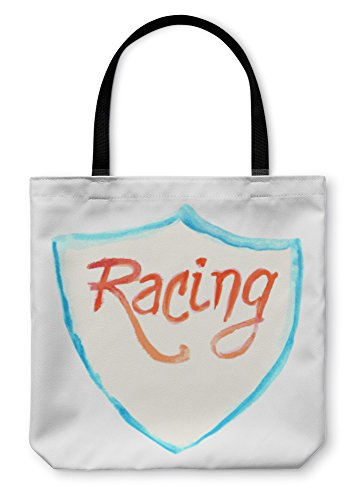 Symbol Shield Road Sign (Gear New Shoulder Tote Hand Bag, Watercolor Racing Symbol With Shield, 18x18, 1539738GN)