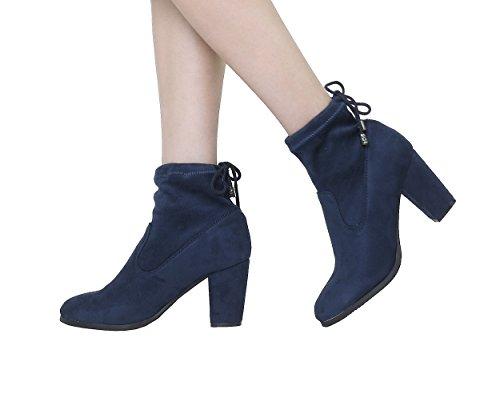 Paio Di Scarpe Da Donna Ankleg Chunky Tacco Stivaletti Alla Caviglia Blu