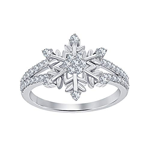 (Womens 14K White Gold Plated Round White CZ Diamond Split Shank Flower Design Snowflake Ring 925 Sterling Silver)
