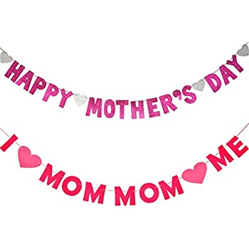 Bememo Happy Mothers Day Banner And I Love Mom Heart Bunting Garland Photo Prop Decorations