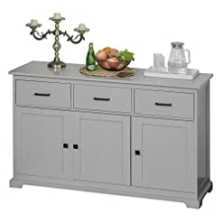 Farmhouse Buffet Sideboards HOMCOM Buffet Storage Cabinet for Kitchen Dining Room Entryway with 2 Cabinets and 3 Drawers, Adjustable Shelves, Grey farmhouse buffet sideboards