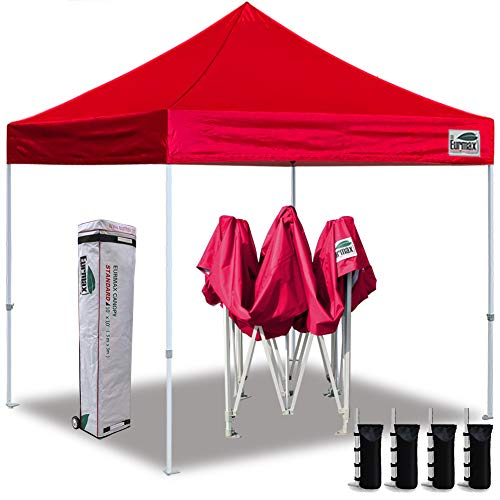 Eurmax 10'x10' Ez Pop Up Canopy Tent Commercial Instant Canopies with Heavy Duty Roller Bag,Bonus 4 Sand Weights Bags (Scarlet Red)