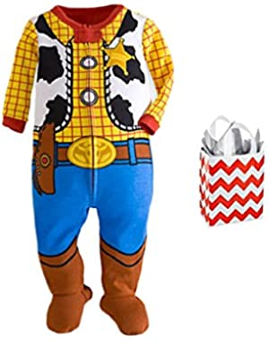 Toy Story Baby Boys' Woody Footie Stretchie and Bag 2 Piece Gift Set