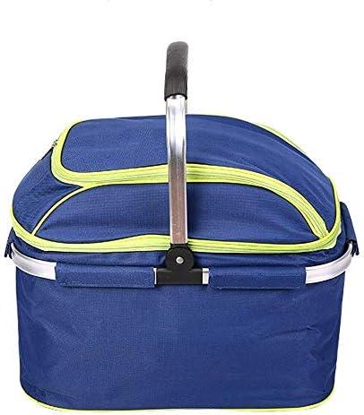 Kylinyyl 断熱ピクニックバスケット防水ライニング - 収納が簡単な折りたたみ式デザイン - キャンプ、ピクニック、湖畔旅行、または家族旅行