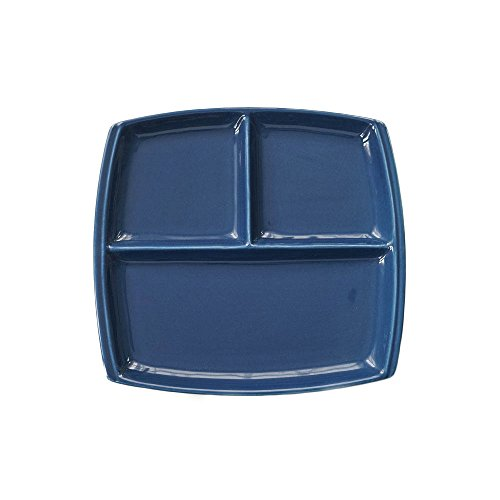FLYING BALLOON Elegant Quadrate Shaped Ceramic Divided Plate Dinner Plates Luncheon Plates Salad Plates Dishes Best Gift for Kitchen, White/ Dark Blue (1, Blue)