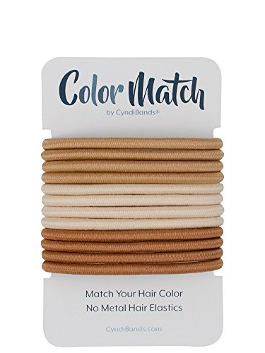 Match Your Hair Color No-Metal 4mm Elastic Hair Ties - Color Match by Cyndibands - 12 Count (Dark Blonde)