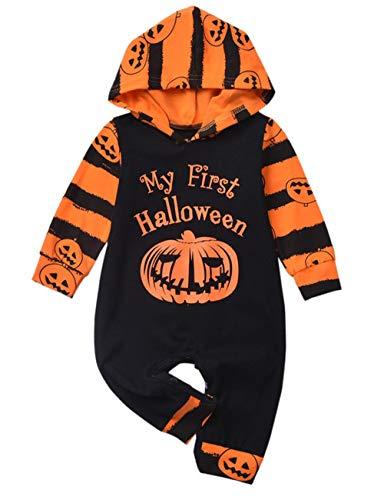 Halloween Baby Boy Girl Outfit My First Halloween Trick or Treat Pumpkin Hooded Newborn Baby Romper Jumpsuit 0-3