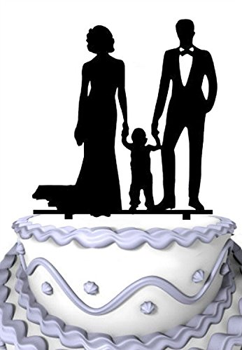 Meijiafei Bride and Groom Hold Little Boy Together Family Anniversary Cake Topper by Meijiafei