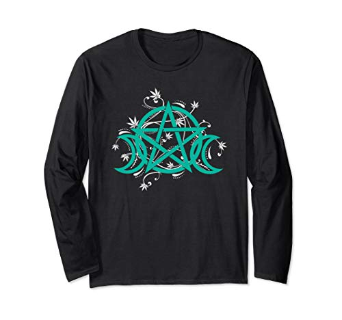 Triple Moon Pentacle Pot Leaf Weed Cannabis Wicca Witchcraft Long Sleeve ()