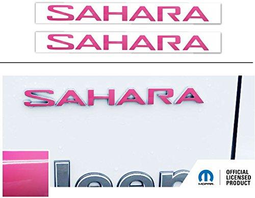SAHARA Fender Emblem Overlay Decal Stickers- 2018 Wrangler JL - (Color: Hot Pink)