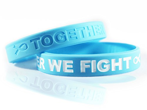 - Cancer & Cause Awareness Bracelets with Saying Together WE Fight, Gift for Patients, Survivors, Family and Friends, Set of 2 Ribbon Silicone Rubber Wristbands for All (Prostate Cancer Light Blue)