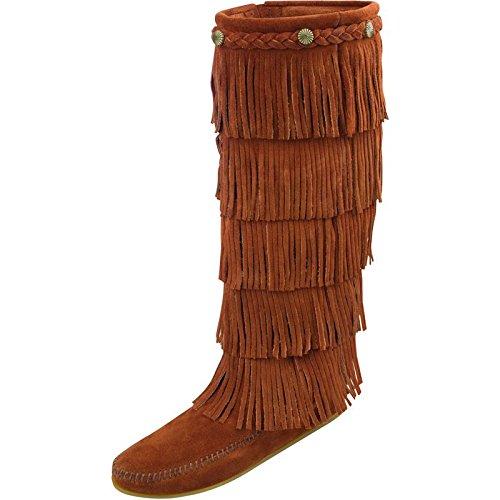 Minnetonka Women's 5-Layer Fringe Boot,Brown,10 M US