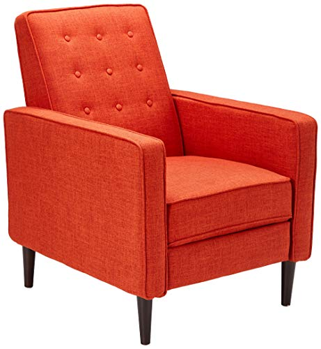 GDF Studio 300598 Macedonia Mid Century Modern Tufted Back Muted Orange Fabric Recliner ()