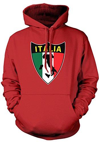 Amdesco Men's Italia Flag Shield, Love Home Italy, Italian Hooded Sweatshirt, Red Small