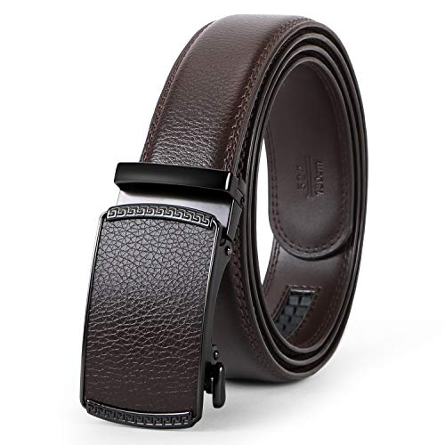 Men's Leather Ratchet Dress Belt with Automatic Buckle in Gift Box by WERFORU ()