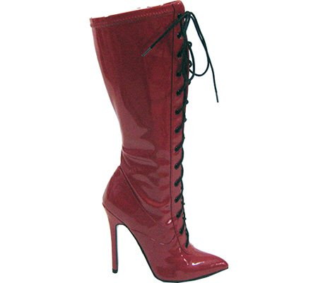 Stretch 61 Highest Boot PU Fierce Patent 8 Lace M US Heel Women's Up 5 Red qFZFT8