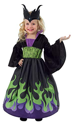 Little Adventures Dragon Queen Dress Up Costume with Soft Crown (Medium Age 3-5) Black -