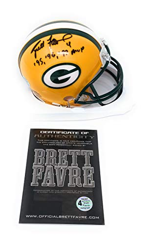 Helmet Brett Favre (Brett Favre Green Bay Packers Signed Autograph Mini Helmet MVP INSCRIBED B Favre Certified)