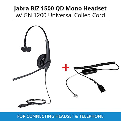 - Jabra Biz 1500 QD Mono Headset with GN 1200 Universal Coiled Smart Cord for Connecting Headset & Telephone