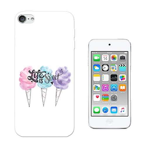 003820 - Life Is Sweet Quote Ice Cream Kawaii Design Apple ipod Touch 6 Fashion Trend CASE Gel Rubber Silicone All Edges Protection Case Cover
