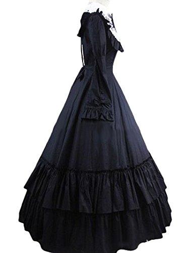 dress「黒女性XL」 ブラック 女性-XL B07GVDSM4Q ワンピース ロリータ メイド服 男女兼用 ドレス 赤 ロング丈 長袖 ステージ衣装 ゴシック 中世期 Lolita