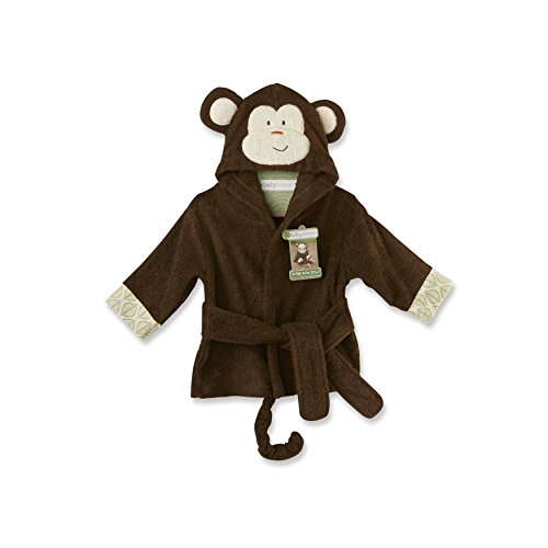 Baby Aspen Born to be Wild Monkey Hooded Spa Robe, Brown, 0-9 Months (Born Baby Gifts)