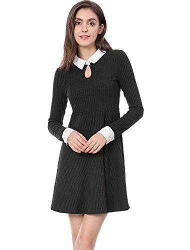 Allegra K Women's Contrast Peter Pan Collar Long Sleeve Short A-line Dress Black -