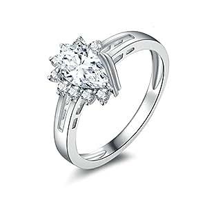 Daesar Rings Engagement Rings Pear Cut White Cubic Zirconia Teardrop Ring Ring Size 6