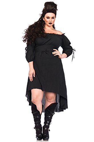 Leg Avenue Women's Plus-Size Plus High Low Peasant Dress Costume, Burgundy, 3X/4X ()