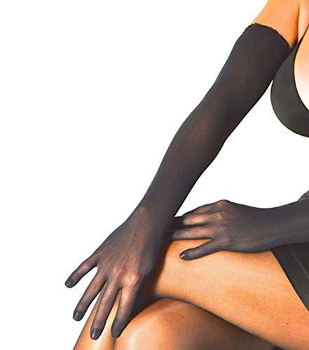 YiZYiF Womens Ultra-thin Sheer Seamless Nylon Mesh Opera Length Evening Long Golves Black One Size (Black Sheer Nylon Gloves)